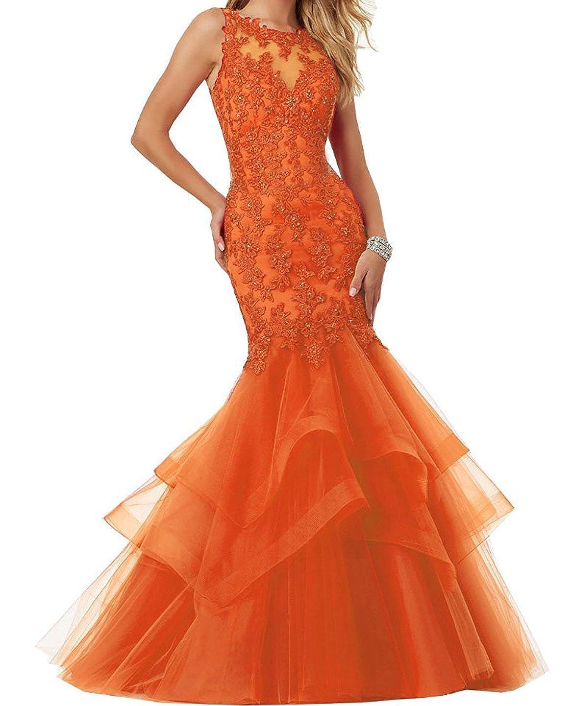 orange Ellenhouse Women's Applique Tulle Long Mermaid Prom Party Evening Dresses EL189