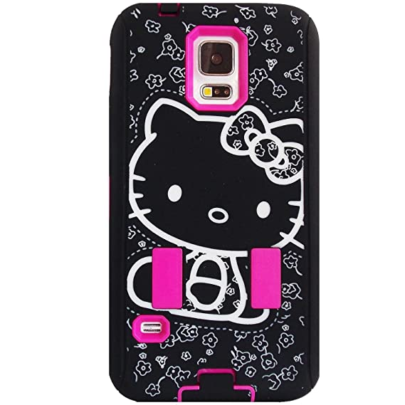 new arrival 94709 f9271 Samsung Galaxy S5 Hello Kitty Hybrid Hot Pink Black for Women & Teen Girls  phone Protector Case + Bukit Cell Metallic stylus pen