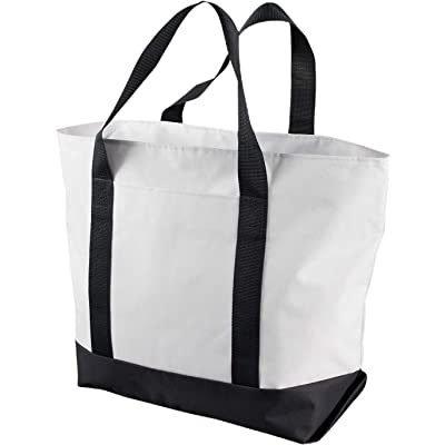 c3ccad875f57 Liberty Bags Bay View Giant Zippered Boat Tote OS WHITE BLACK durable  service