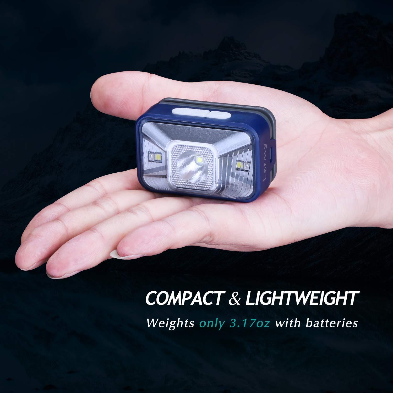 Ligera Impermeable LED Blanco y Rojo IPX6 LETMY Linterna Frontal LED Correr y Bricolaje 3 Pilas AAA Incluidas. s/úper Brillante CREE con 7 Modos c/ómoda para Pesca