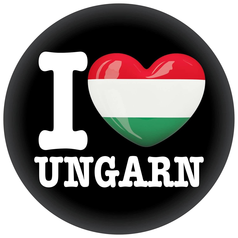 FanShirts4u Button//Badge//Pin I Love UNGARN Fahne Flagge HUNGARY MAGYARORSZ/ÁG
