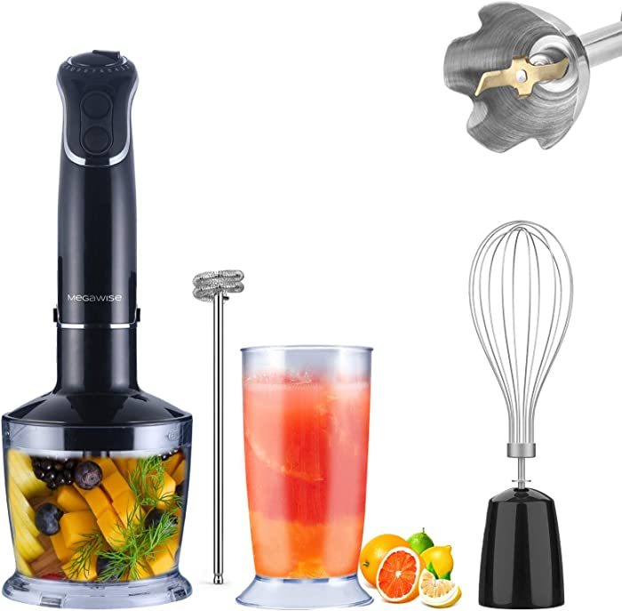 5-in-1 Immersion Hand Blender, MEGAWISE Powerful 800 Watt 12-Speed Stick Blender with Sturdy Titanium Plated Stainless Steel Blades, Including 500ml Chopper, 600ml Beaker, Whisk and Milk Frother Attachments, Dishwasher Safe and BPA-Free