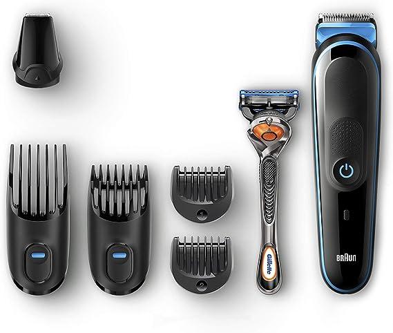 Braun All-in-one MGK5045 depiladora para la barba Negro, Azul - Depiladoras para la barba (0,5 mm, 2 cm, Barba entera, Barba larga, Barba corta, Botones, Barba, Negro, Azul): Amazon.es: Salud y cuidado