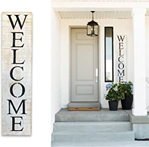 Vertical Welcome Sign for Front Porch – 42 x 9 inch – Rustic Wooden Welcome Sign Handmade – Outdoor Welcome Signs for Porch – Premium Pine Wood Sanded and Hand Painted Front Porch Sign Décor Farmhouse