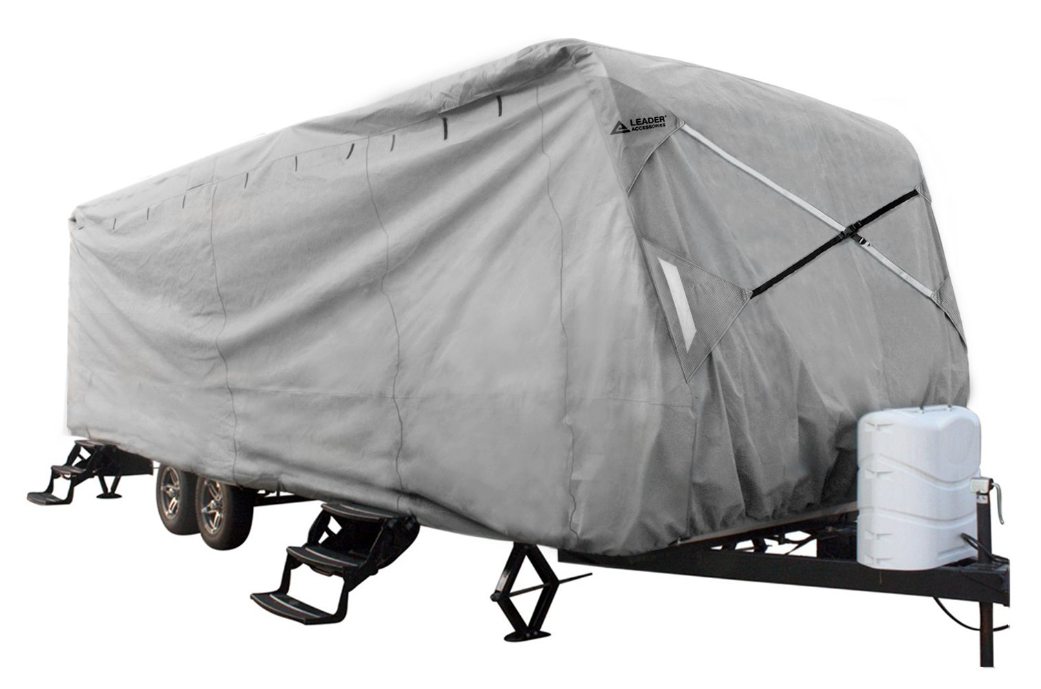 Leader Accessories New Easy Setup Travel Trailer Cover Fits 35'-38' RV Camper with Assist Steel Pole by Leader Accessories