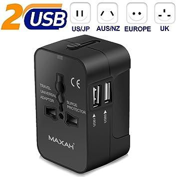 MAXAH Adaptador Enchufe de Viaje Cargador Universal Enchufe Adaptador Internacional con 2 USB para US EU UK AU acerca de EU/UK/US/AU 150 Países 2.1A, ...