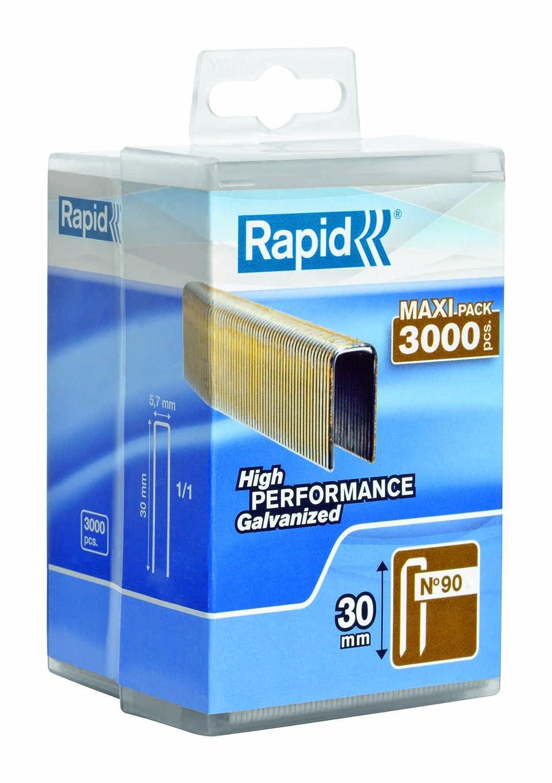 3000 pi/èces Longueur 30mm 5000125 Rapid Agrafes N/°90 Haute performance Fil galvanis/é enduit de r/ésine