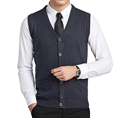 efa67e57c3075 FULIER Mens Wool V-Neck Gilet Sleeveless Vest Waistcoat Classic Gentleman  Knitwear Cardigans Knitted Sweater Tank Tops With Buttons  Amazon.co.uk   Clothing