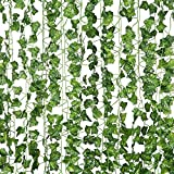 12 Pcs of 82 inch Artificial Plant Fake Hanging Vine Ivy Leaves Greenery Garland for Wedding Backdrop, Jungle Decorations, Safari Party Supplies, Farmhouse Wreath