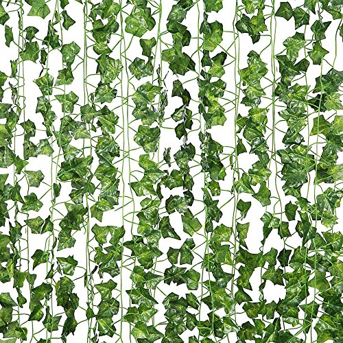 12 Pcs of 82 inch Artificial Plant Fake Hanging Vine Ivy Leaves Greenery Garland for Wedding Backdrop, Jungle Decorations, Safari Party Supplies, Farmhouse Wreath by DJSBZ