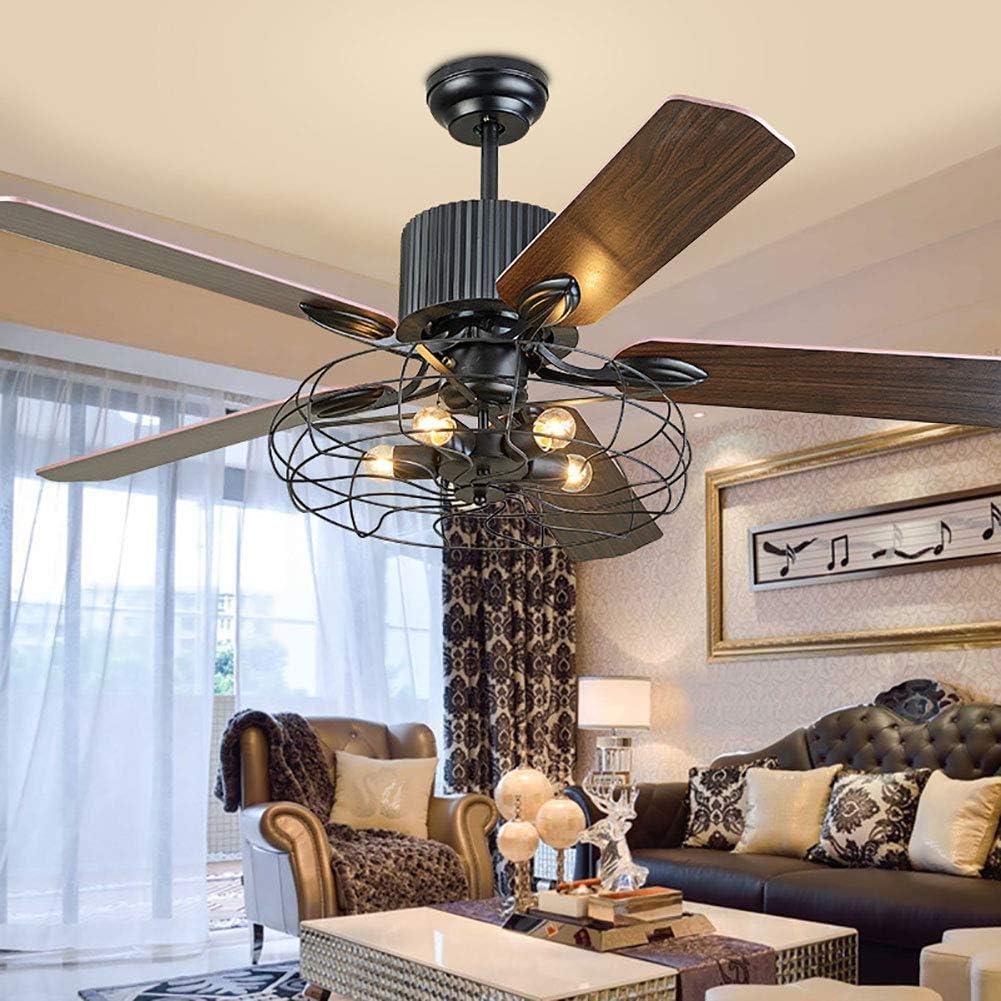 con luce e telecomando stile industriale E27 Ventilatore da soffitto da 52 pollici Aboyia senza lampadina