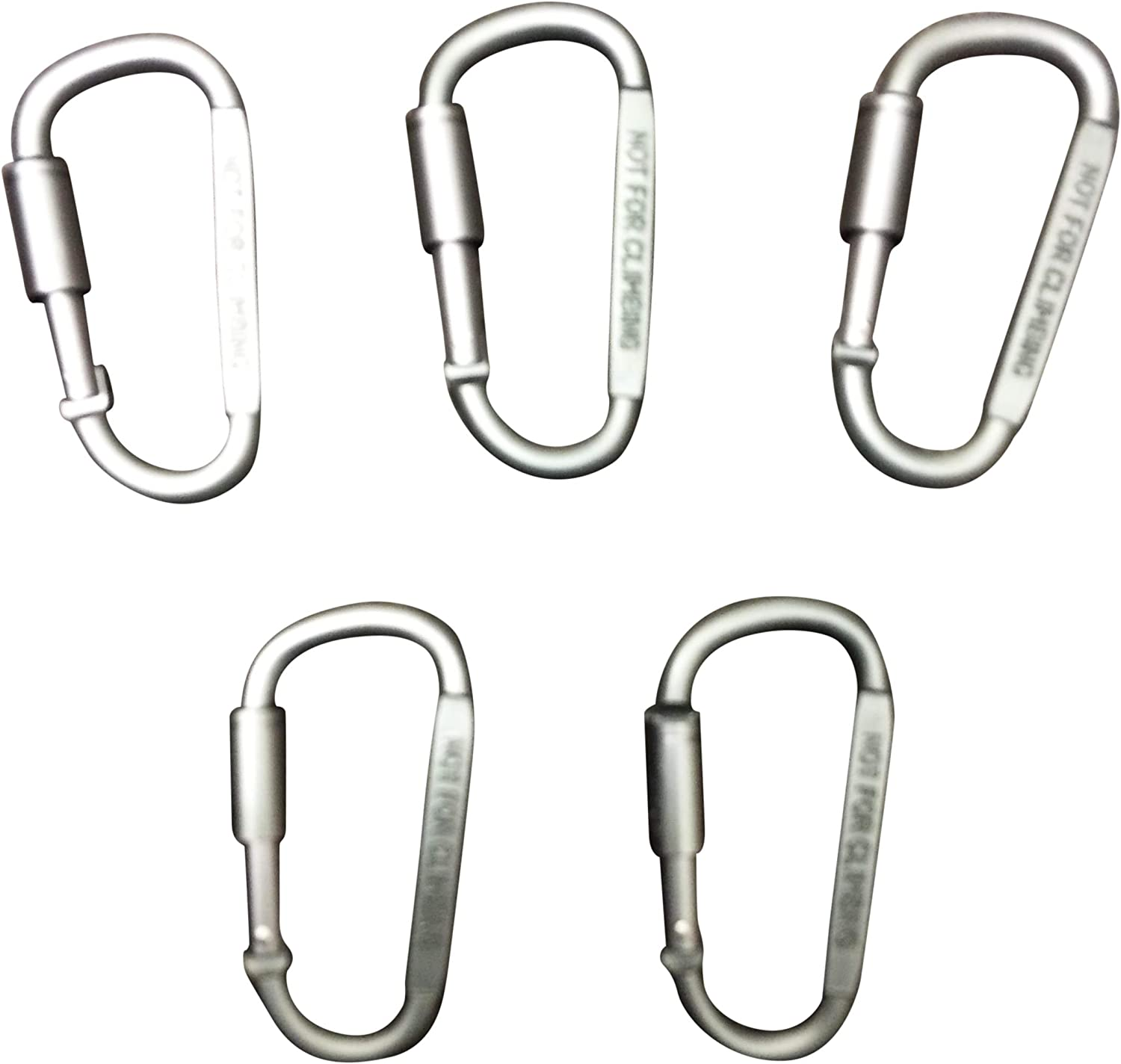Durable Strong and Lightweight Set of 5, Hiking 3 Spring Link for Camping Screw Lock Hooks GearHill Aluminum Carabiner Clip D Ring Shape Traveling