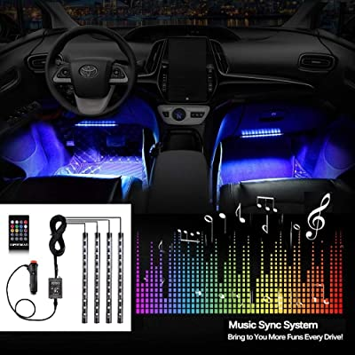Car LED Strip Lights EXPERTBEAM interior footwell lighting kit 8 colors 4 pcs 48 LED Multi Color Interior Lights, Remote Control Under Dash Lighting Kit DC 12V: Automotive