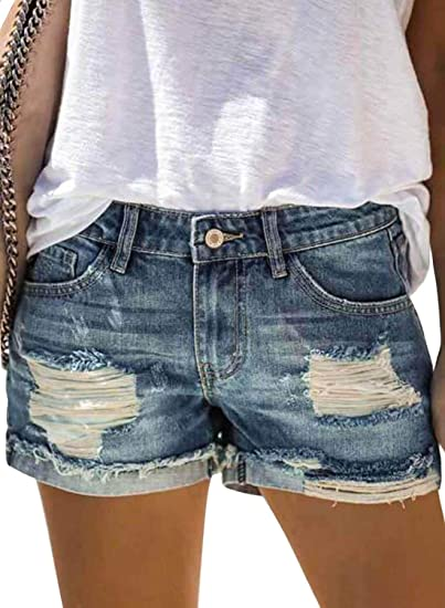 【MOHOLL】 Womens Mid Rise Frayed Ripped Raw Hem Denim Jean Shorts