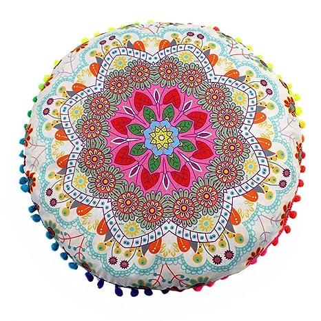 LIMITA - Cojines de Suelo Indios con Mandala, Fundas de cojín de Bohemio Redondas, Fundas de cojín