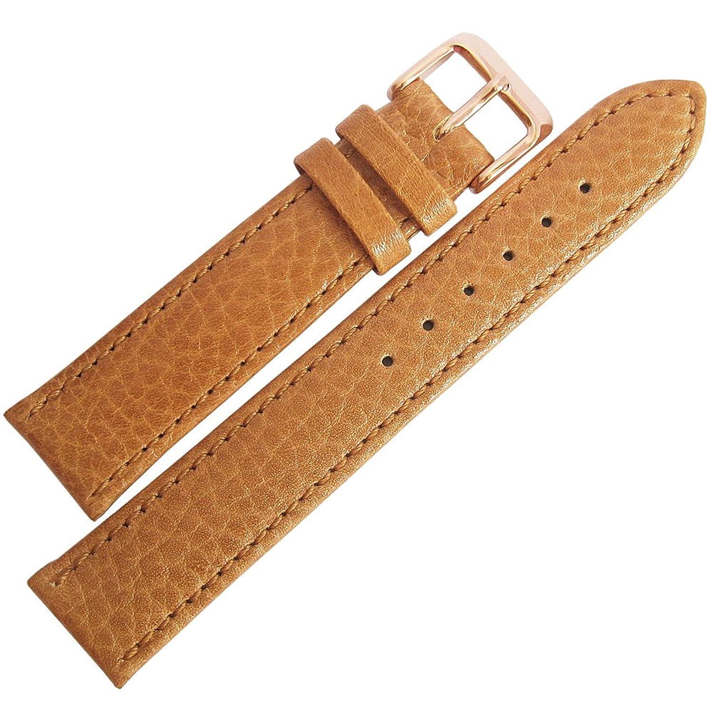 Flucoレコードbuffalo-grain 18 mmタンレザーローズゴールドバックルメンズ腕時計ストラップ  B01KSTAO2G