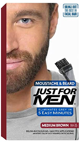 Surprising Just For Men M35 Moustache And Beard Facial Hair Color Medium Hairstyles For Men Maxibearus