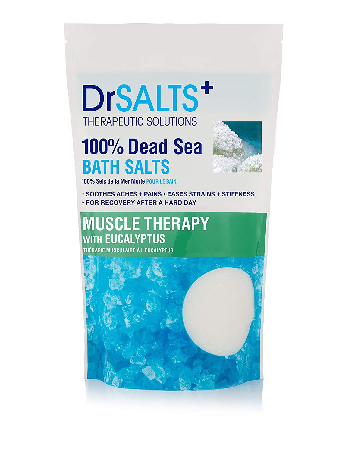 DRSALTS 100% Dead Sea Bath Salts with Eucalyptus - Muscle Therapy with  Natural Minerals, Soothe Muscle Aches & Pains, Eases Strains & Stiffness  After