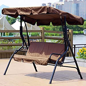 Yuehuam Patio Swing Cushion Cover Set, Canopy Top Cover+Swing Cushion Cover,Courtyard Garden Swing Seat Cover Replacement 3-Seat Waterproof Protection Cover 59x43.3x3.9Inch (Coffee)