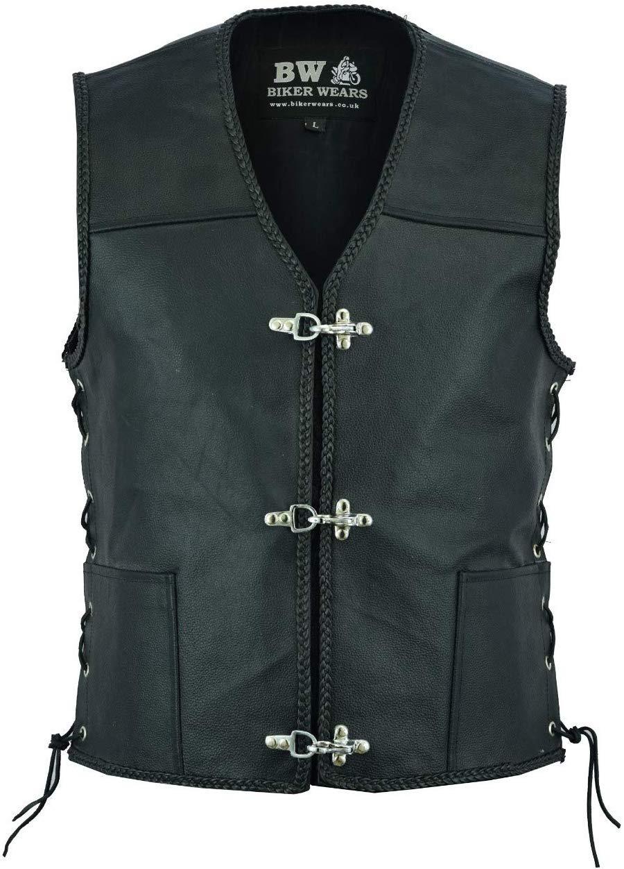 alla moda in vera pelle con bottoni laterali con tasca e gancio Gilet da motociclista da uomo