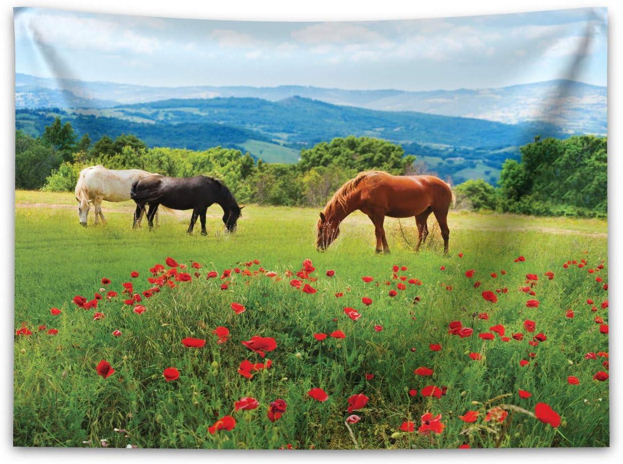 ABAKUHAUS Caballos Tapiz de Pared y Cubrecama Suave, Varios Tipos de Caballos Pastando en el Campo Paisaje de Montaña Escena Rural, Fácil de Lavar No Destiñe, 150 x 110 cm, Multicolor