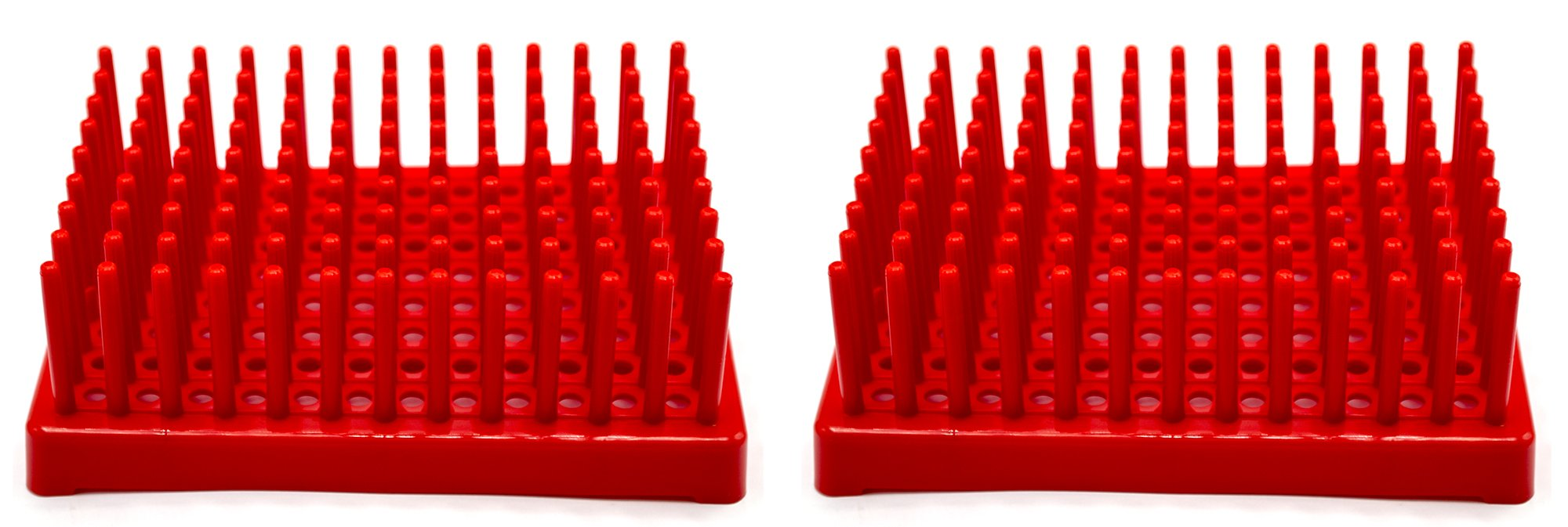 (Pack of 2) Red Plastic Test Tube Peg Drying Rack Holds 96 13mm Test Tubes - Eisco Labs by EISCO