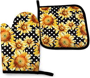 VunKo Watercolor Sunflowers Oven Mitts and Pot Holders Sets Heat Resistant Polka Dot Kitchen Oven Gloves Non-Slip for Safe BBQ Cooking Baking Grilling Set of 2