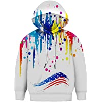 Asylvain Teen Boys Girls Hoodies with 3D Print Graphic Colorful Deisgn Sweatshirt for Kids with Pocket, 3-14 Years