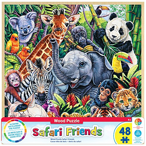 MasterPieces Real Wood Tray Jigsaw Puzzle Safari Friends, STEM Product, 48 Pieces, For Ages -
