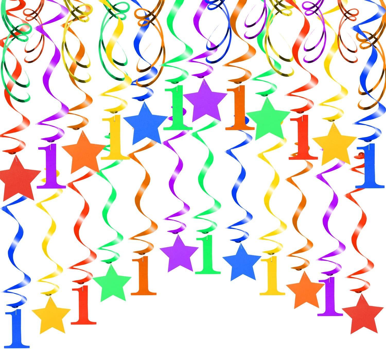 30pcs /Étoile Num/éro 1 Suspendre Tourbillons Guirlandes Hanging Swirl D/écoration pour B/éb/é 1er Anniversaire D/écorati HOWAF Color/é B/éb/é Fille Gar/çon Premier Anniversaire D/écoration