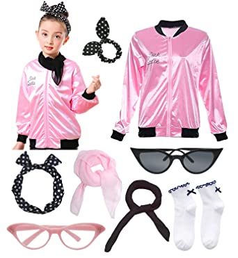 7dbcecbca0 Amazon.com  Girls 50s Grease Pink Satin Ladies Jacket Hen Party Costume  with Scarf Polka Dot Headband  Clothing