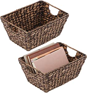 mDesign Natural Woven Hyacinth Closet Storage Organizer Basket Bin - Collapsible - for Cube Furniture Shelving in Closet, Bedroom, Bathroom, Entryway, Office - 2 Pack - Dark Brown