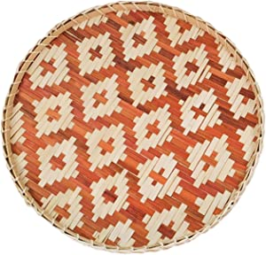 Ann Lee Design Round Serving Trays - 14.41 x 13.94 x 1.77 Inches (Diamond Brown)