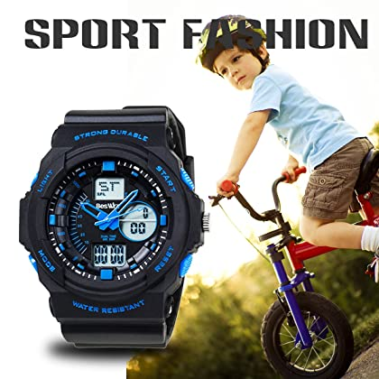 BesWLZ Multi Function Digital LED Quartz Watch Water Resistant Electronic Sport Watches for Boy Girls Child Kids Gift (Blue)