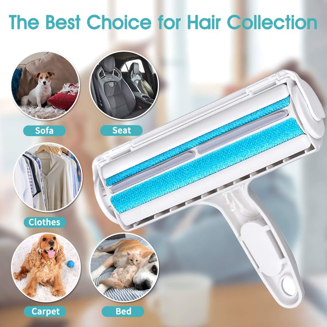 Bedding Sinwind Reusable Dog Cat Hair Remover Roller,Easy to Clean Lint Remover,For Furniture Clothing and More. Carpets