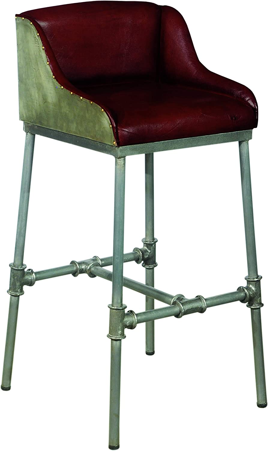 Pulaski Industrial Leather and Metal Barstool