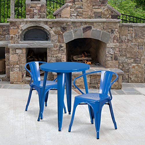 "Flash Furniture Commercial Grade 24"" Round Blue Metal Indoor-Outdoor Table Set"