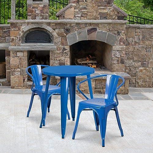 Flash Furniture Commercial Grade 24″ Round Blue Metal Indoor-Outdoor Table Set