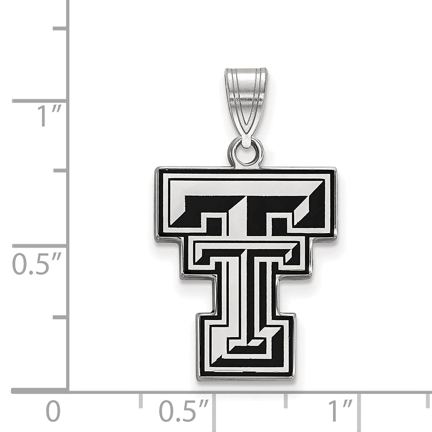 925 Sterling Silver Rhodium-plated Laser-cut Texas Tech University Large Enameled Pendant