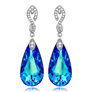 3f5e9db78 KATE LYNN An Encounter with Mermaid Water-drop Style Earring with Bermuda  Blue Swarovski Crystals, Women Infinity Design Dangle Drop Earrings:  Amazon.co.uk: ...