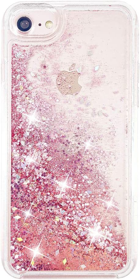 uCOLOR Rose Pink Glitter Case for iPhone SE (2020) iPhone 8/7 iPhone 6S/6 Case for Girls(4.7