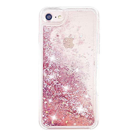 09f54eddec uCOLOR Rose Pink Glitter Case for iPhone 8/7 iPhone 6S/6 Case for  Girls(4.7