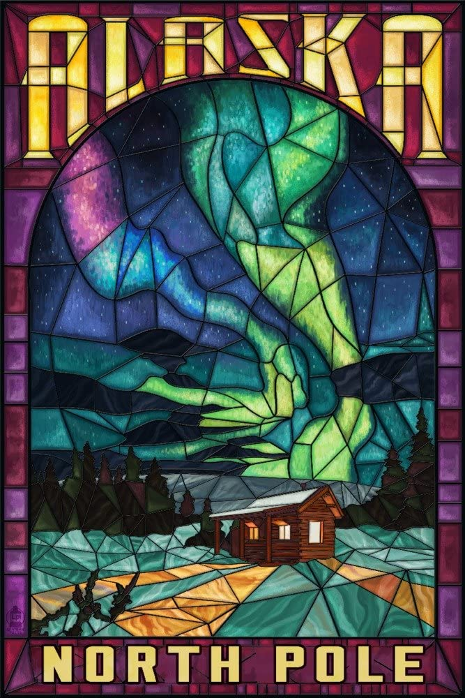 North Pole, Alaska, Cabin and Northern Lights Stained Glass (12x18 Art Print, Wall Decor Travel Poster)