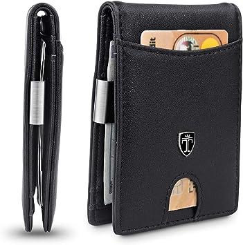 TRAVANDO Slim Wallet with Money Clip SEATTLE RFID Blocking Card Mini Bifold Men Black /& Orange