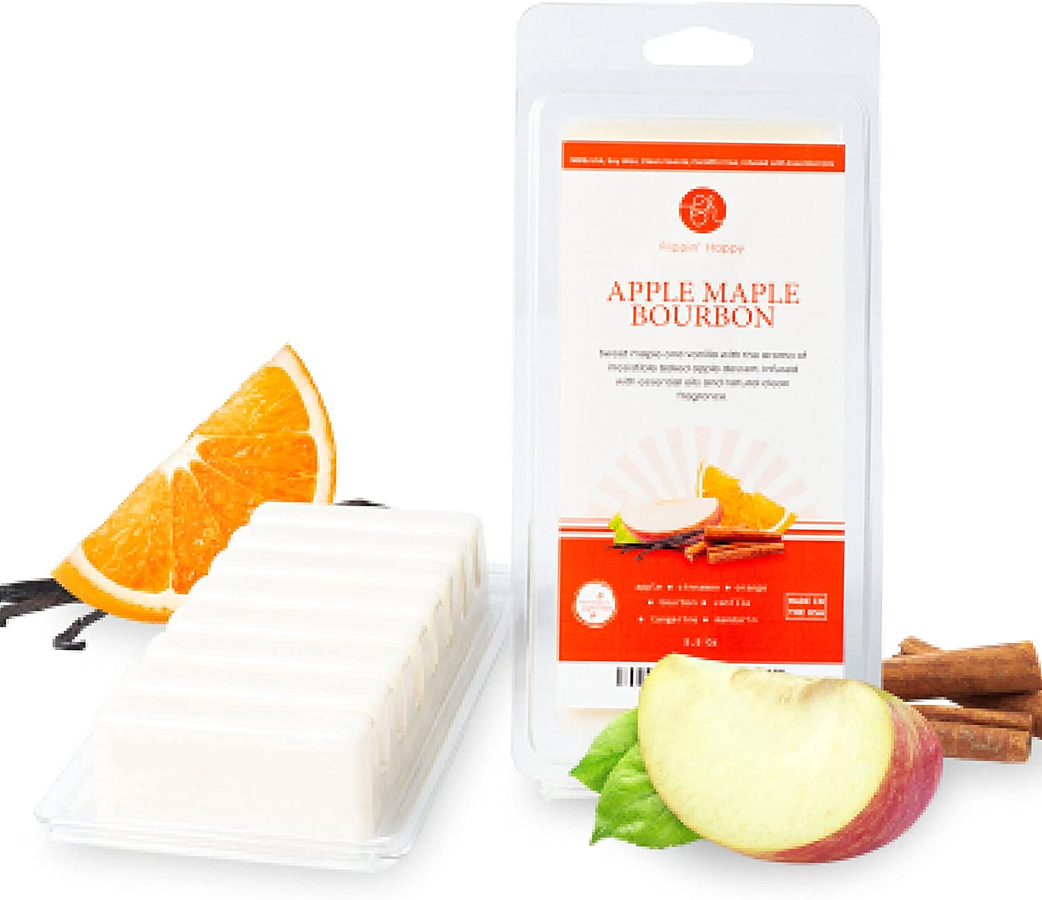 Flippin' Happy - Apple Maple Bourbon 100% 5oz Natural Soy Wax Melts, Scented Wax Bars for Electric Wax Warmers and Tart Burners, Candle Warmers and Melters