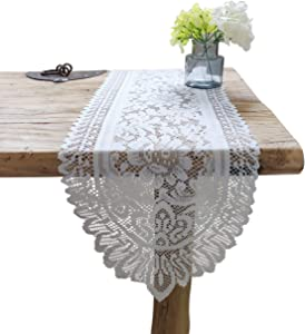 Tinsow 2 Pack Cotton Crochet Lace Rectangular Table Runner Dresser Scarf Doilies (White Without Tassels)