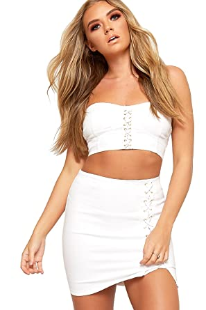 dc1c61fc96a8 WearAll Women's Lace Up Eyelet Bralet Crop Top Mini Skirt Set Ladies Co-Ord  Bandeau