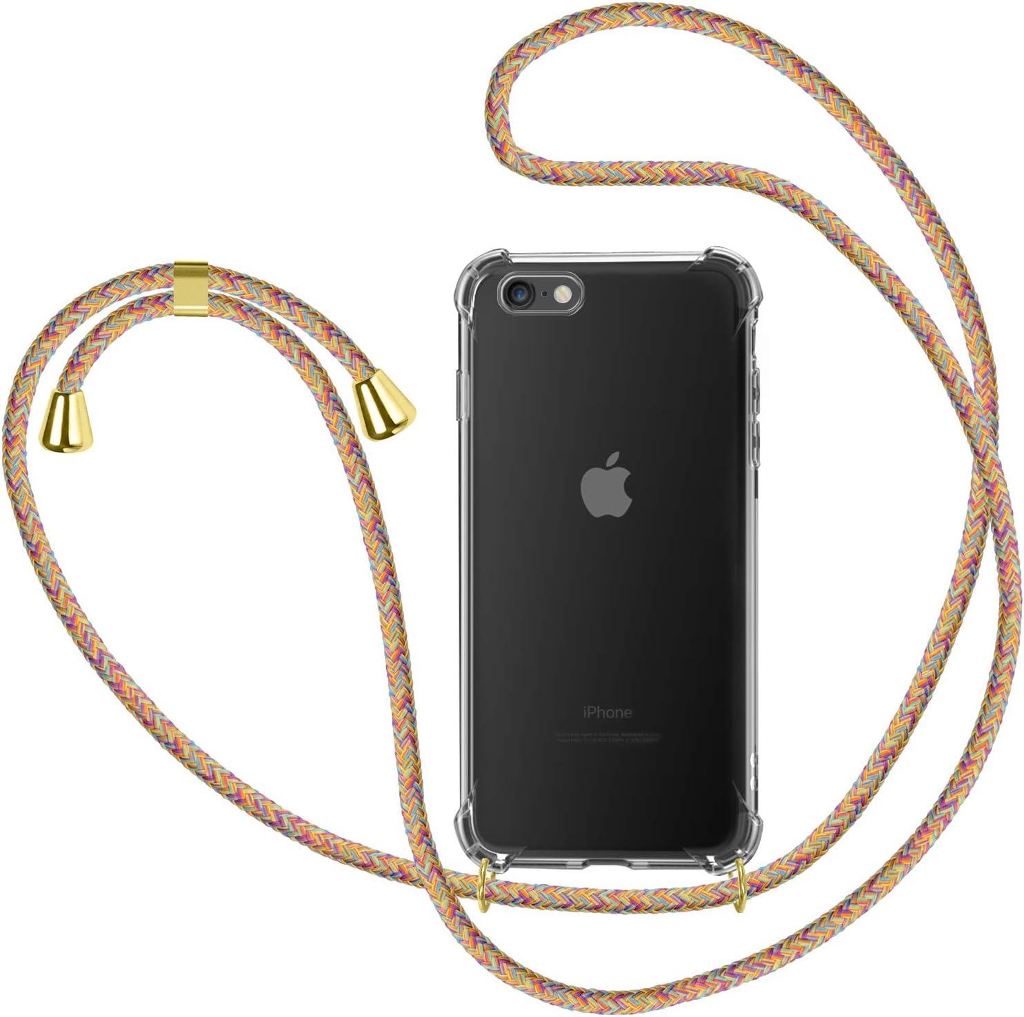 Funda con Cuerda para Apple iPhone 6 / 6s, Carcasa Transparente TPU Suave Silicona Case con Correa Colgante Ajustable Collar Correa de Cuello Cadena ...