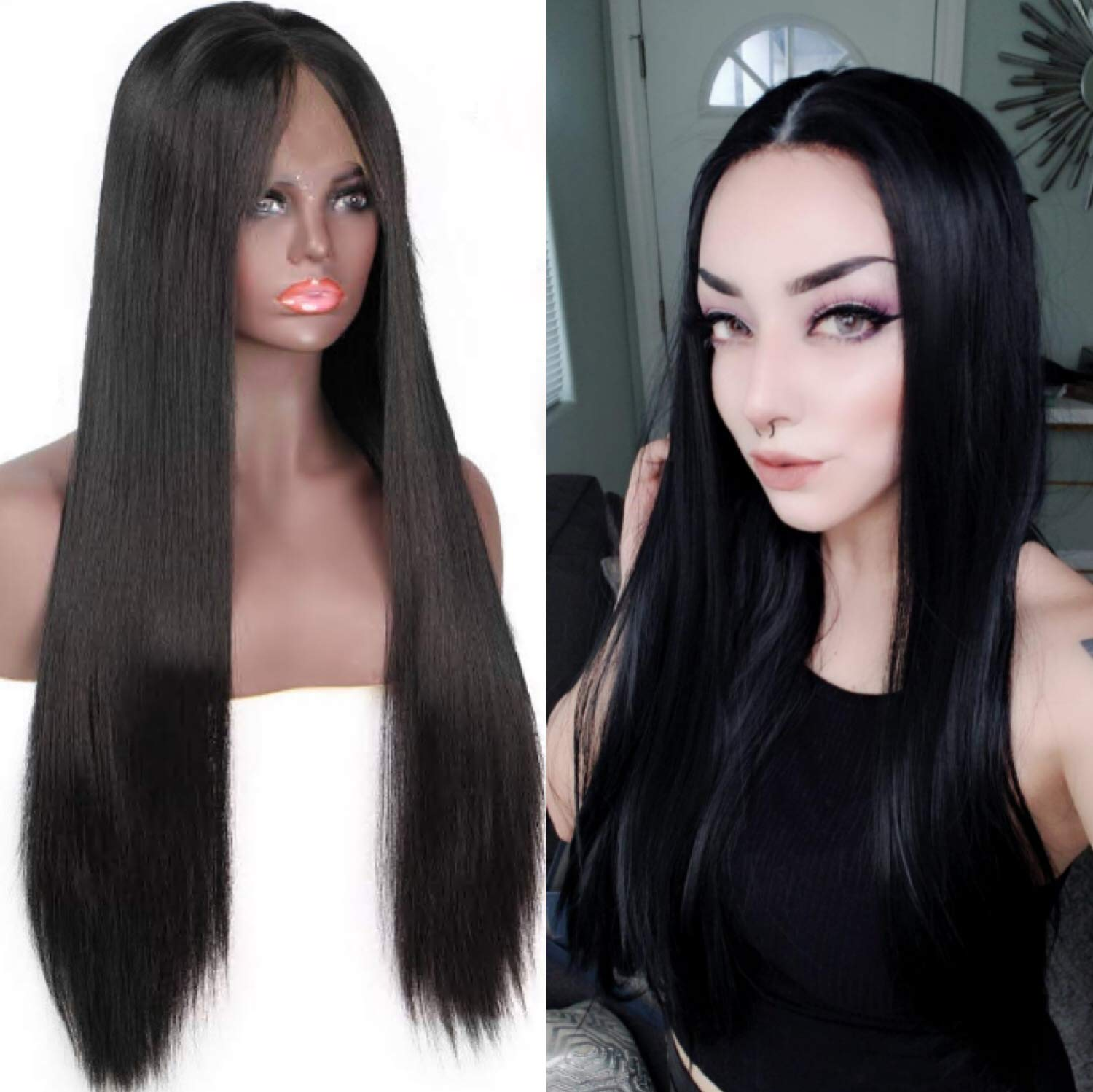 Amazon.com  Best Synthetic Lace Front Wigs Women Long Straight Black Wig  Silk Straight Synthetic Lace Front Wigs Baby Hair Natural Looking Long  Middle ... ef5007e09e