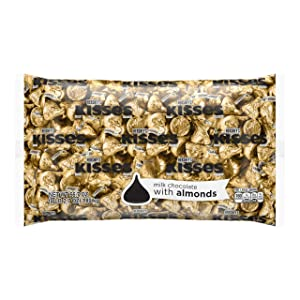 HERSHEY'S KISSES Bulk Milk Chocolate w/ Almond Pride Candy, Ships With Cool Packs, 4.1 Pounds, Gold Foils, ~400 Pieces